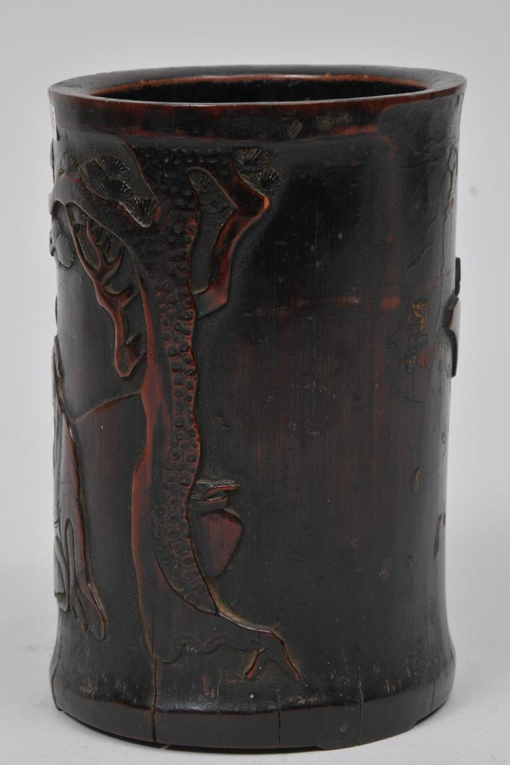 Bamboo brush pot. China. 18th century. Carving of the - 3