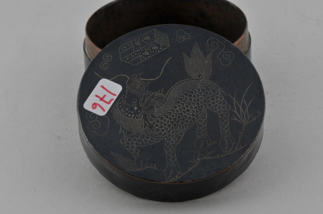 Round copper box. China. 19th century. Blackened - 4