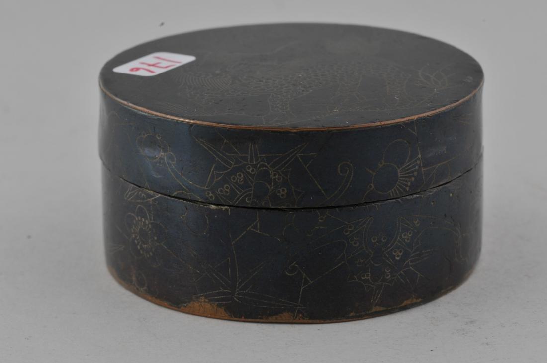 Round copper box. China. 19th century. Blackened - 5