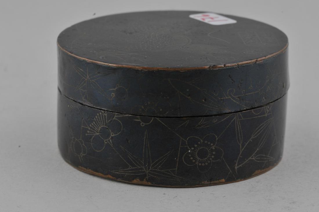 Round copper box. China. 19th century. Blackened - 6