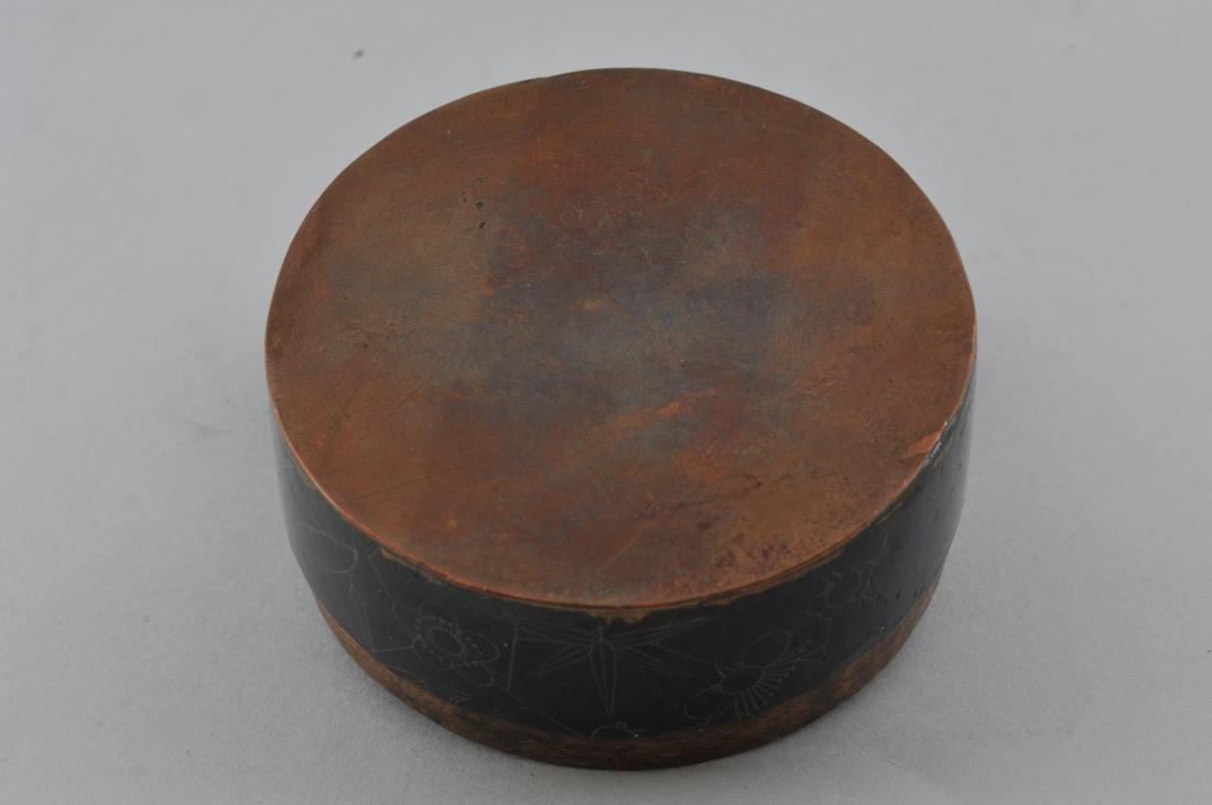 Round copper box. China. 19th century. Blackened - 8