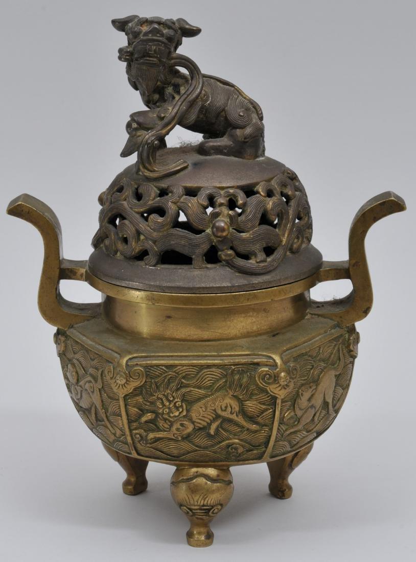 Bronze censer. China. Early 20th century. Foo Dog