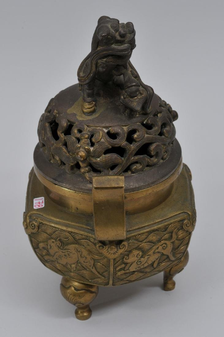 Bronze censer. China. Early 20th century. Foo Dog - 4