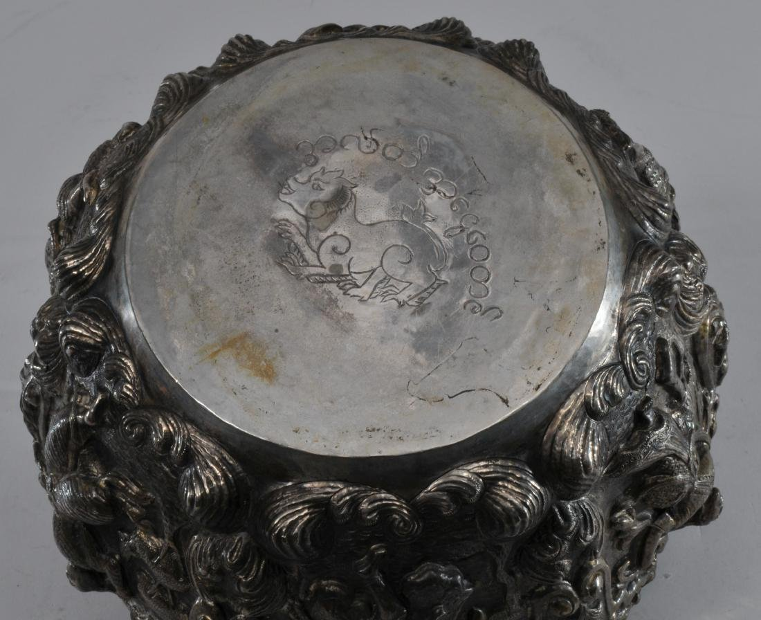 Burmese silver bowl. Early 20th century. High relief - 10