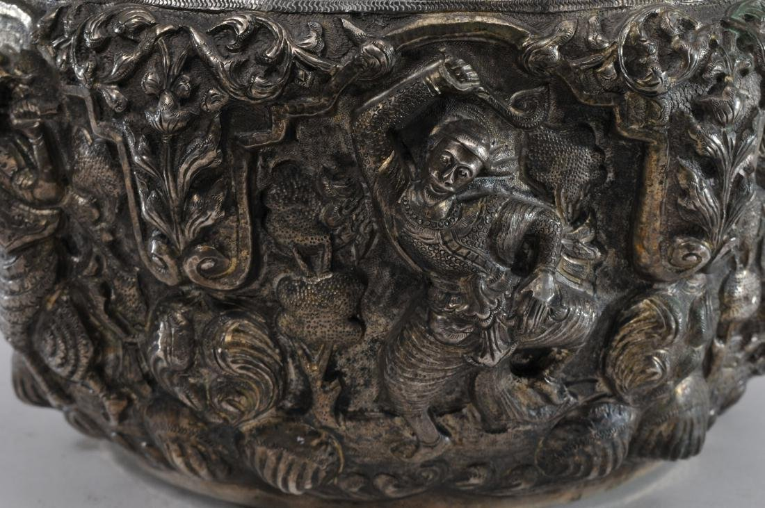 Burmese silver bowl. Early 20th century. High relief - 2