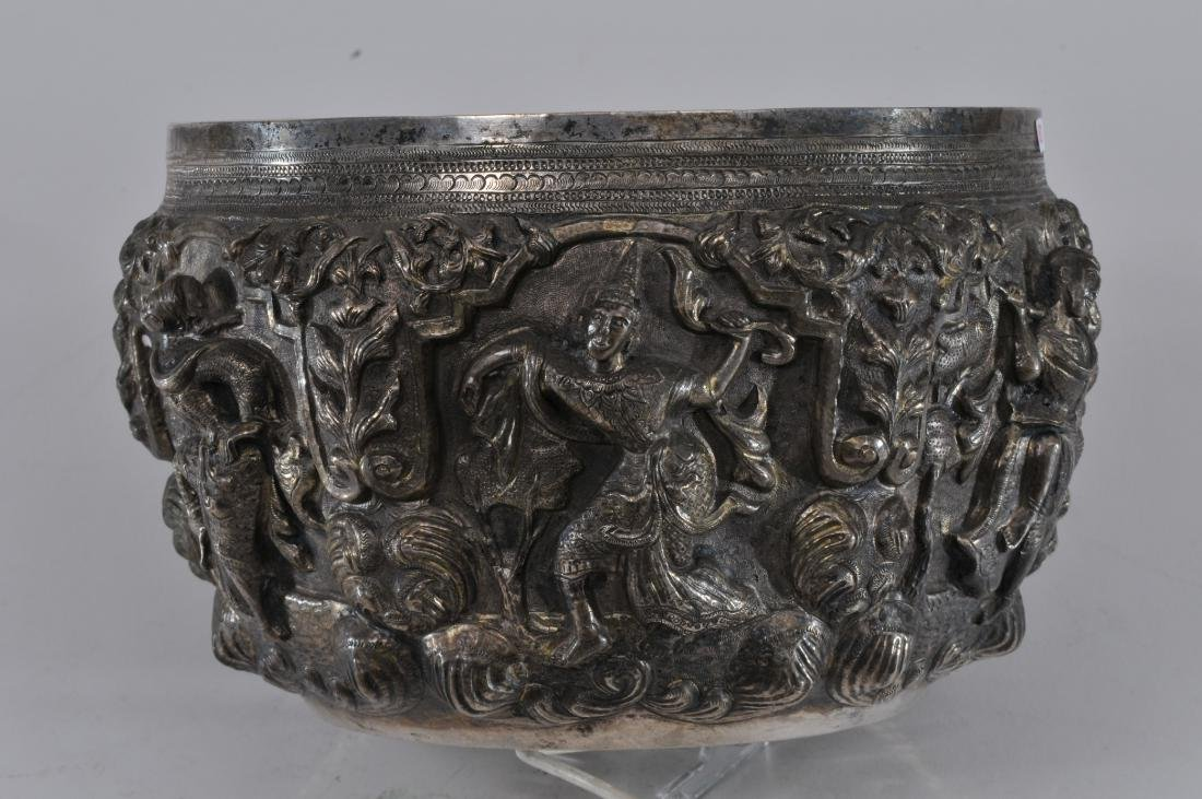 Burmese silver bowl. Early 20th century. High relief - 5