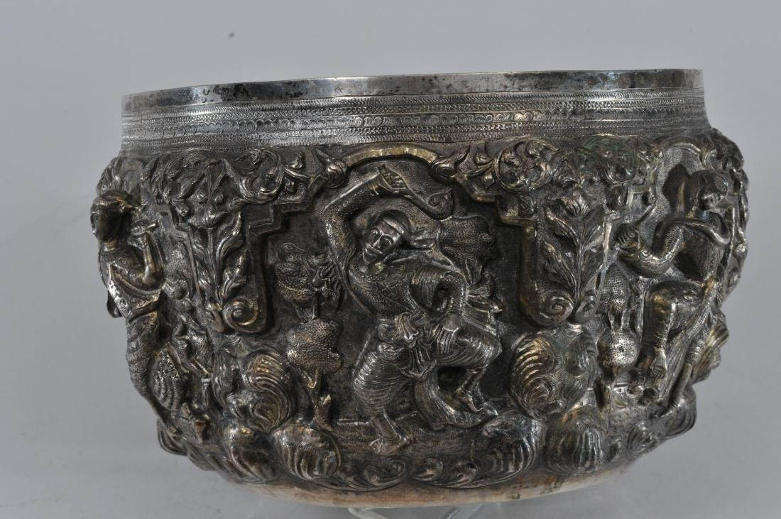 Burmese silver bowl. Early 20th century. High relief - 6
