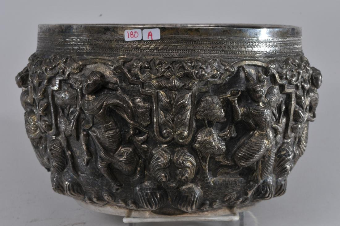 Burmese silver bowl. Early 20th century. High relief - 7