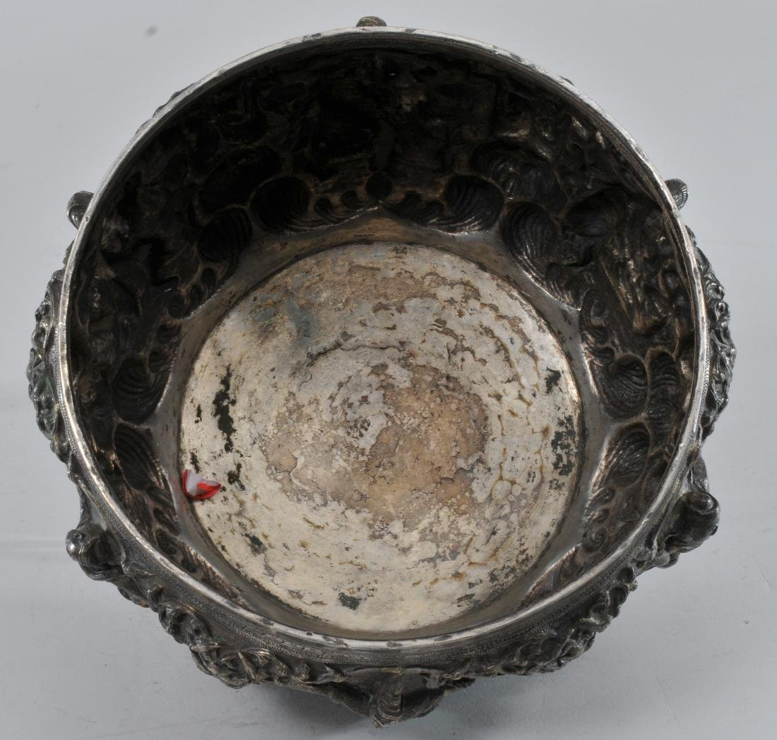 Burmese silver bowl. Early 20th century. High relief - 9