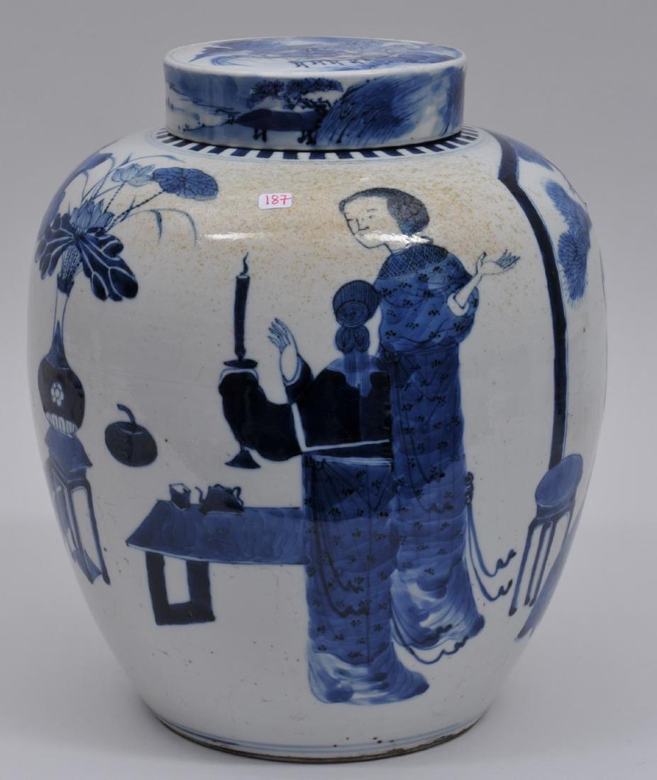 Porcelain covered jar. China. 19th century. Oviform.