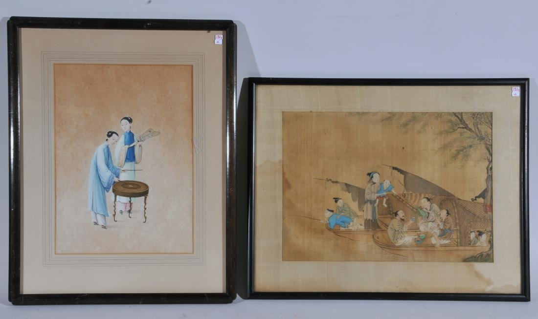 Two paintings. China. 19th century. To include: an