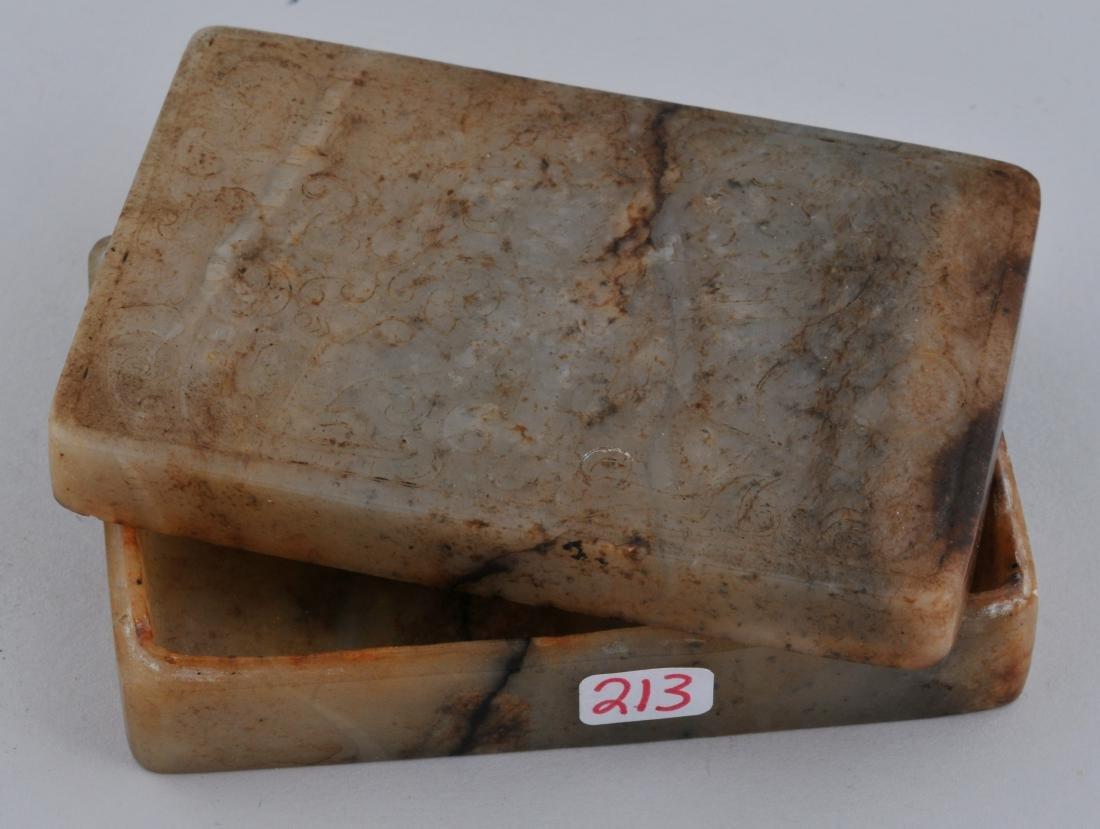 Jade box. China. 19th century. Rectangular shape stone