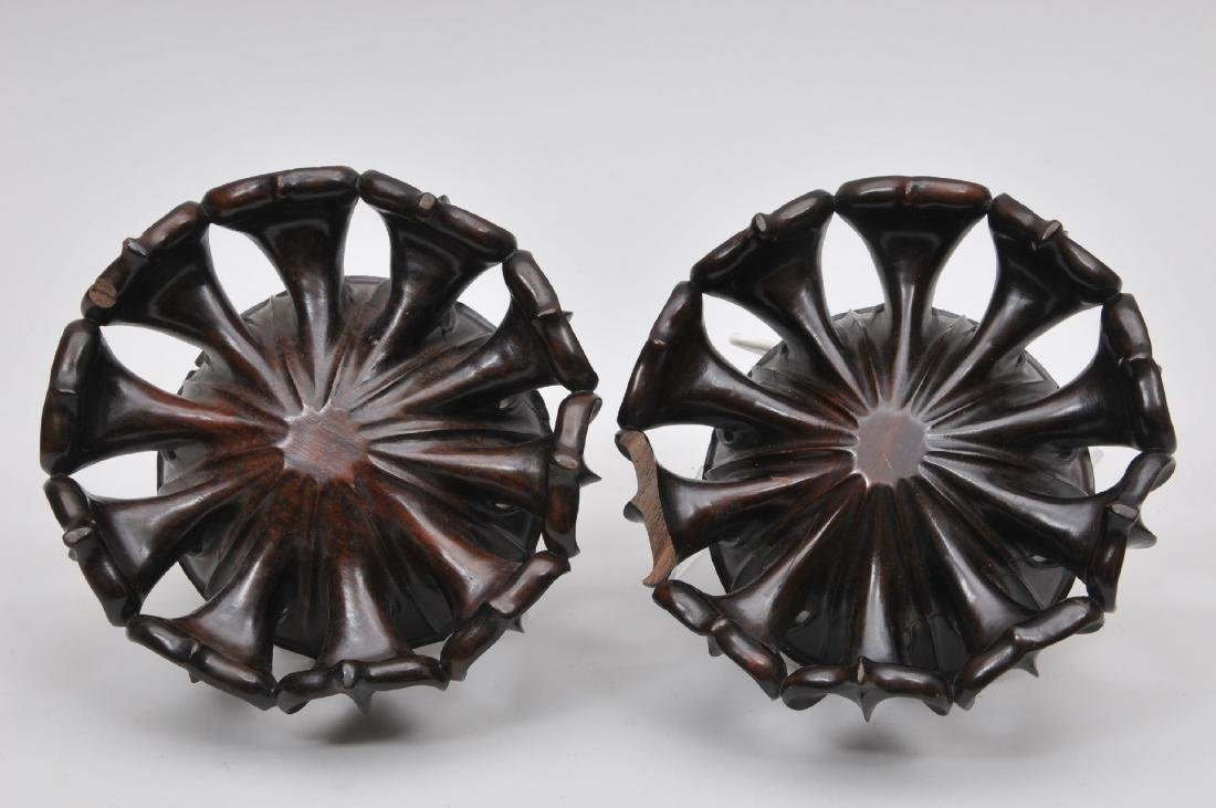 Pair of stands. China. 19th century. Hung Mu carved as - 6
