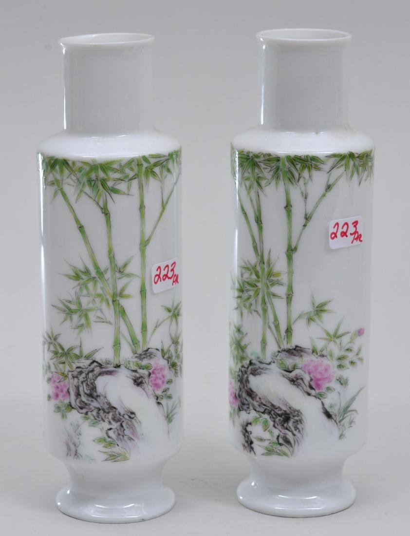Pair of eggshell porcelain vases. China. Early 20th