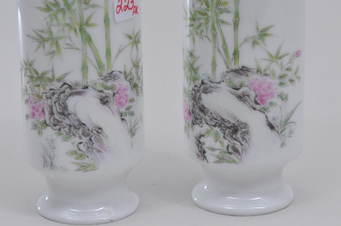 Pair of eggshell porcelain vases. China. Early 20th - 3