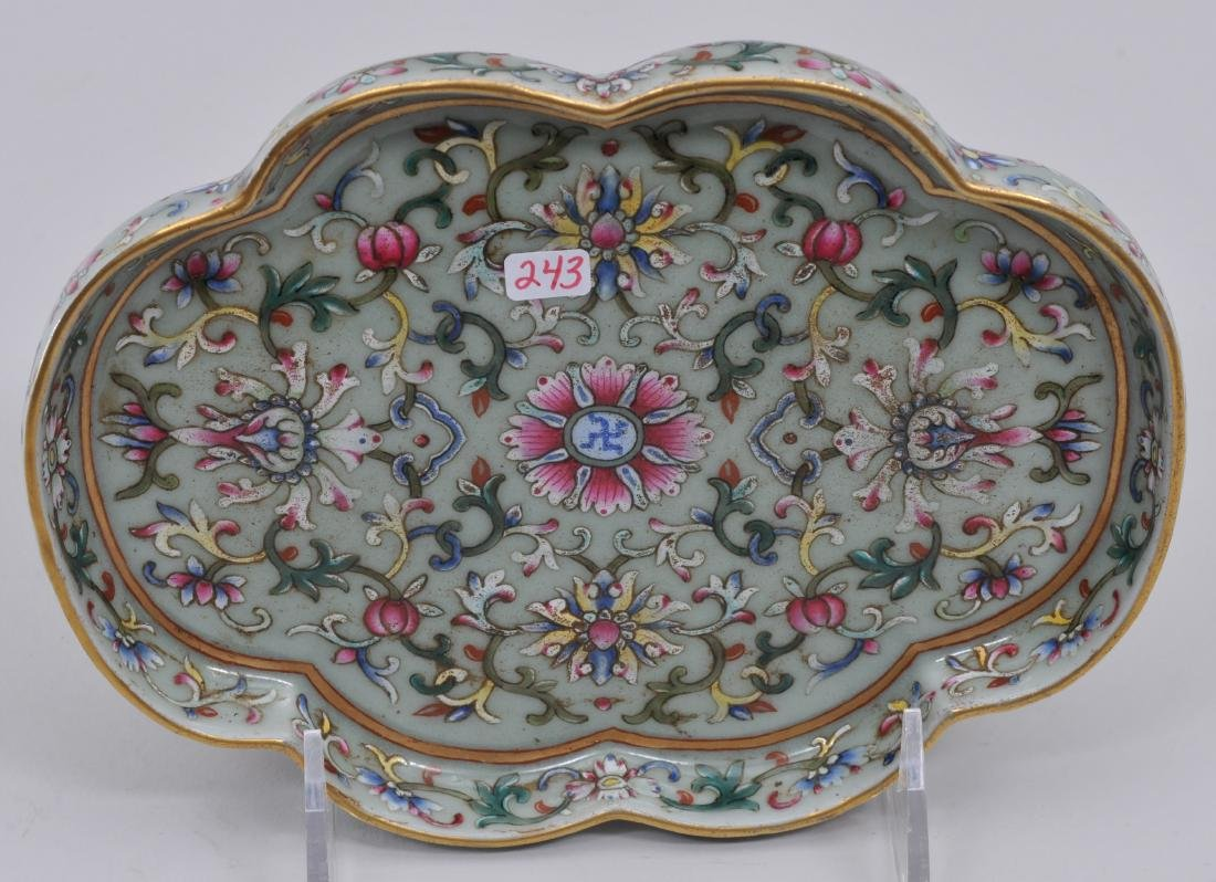 Porcelain tray. China. 20th century. Lobated sides. - 3