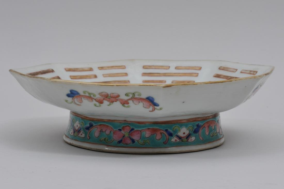 Porcelain footed dish. China. 19th century. Octagonal - 8