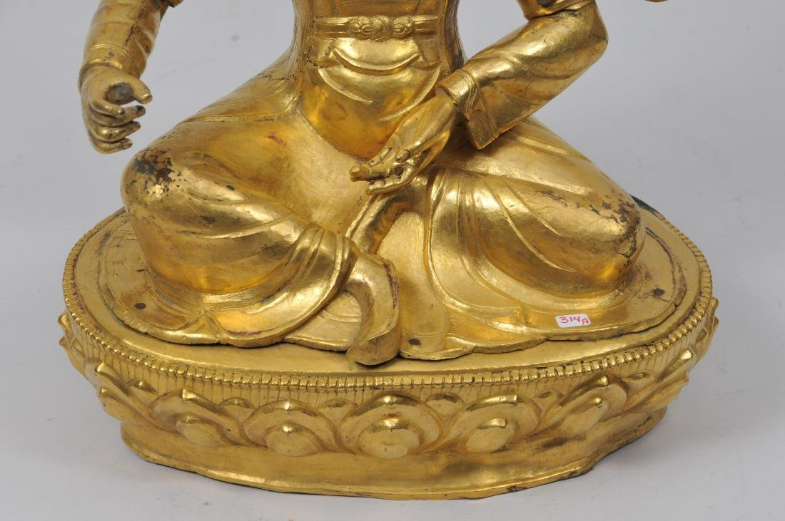 Repousse gilt copper image. Tibet. 19th century. Seated - 3