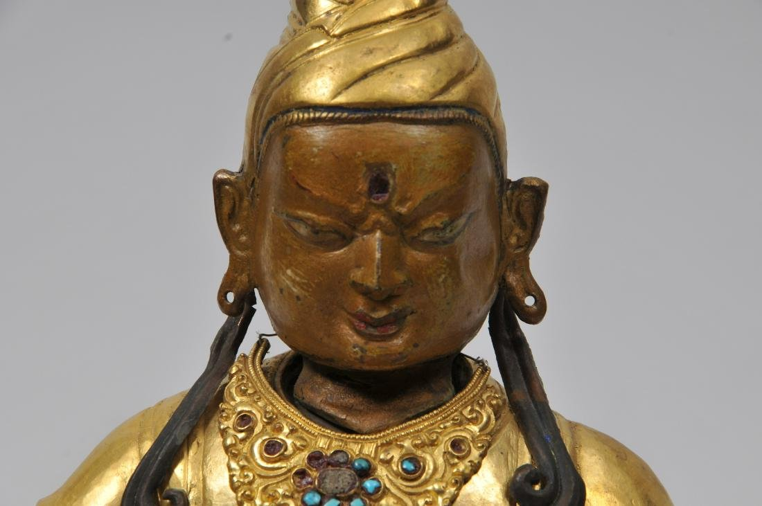 Repousse gilt copper image. Tibet. 19th century. Seated - 4