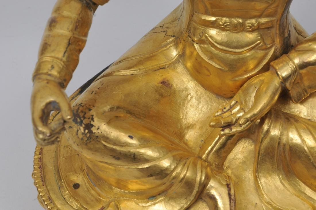 Repousse gilt copper image. Tibet. 19th century. Seated - 5