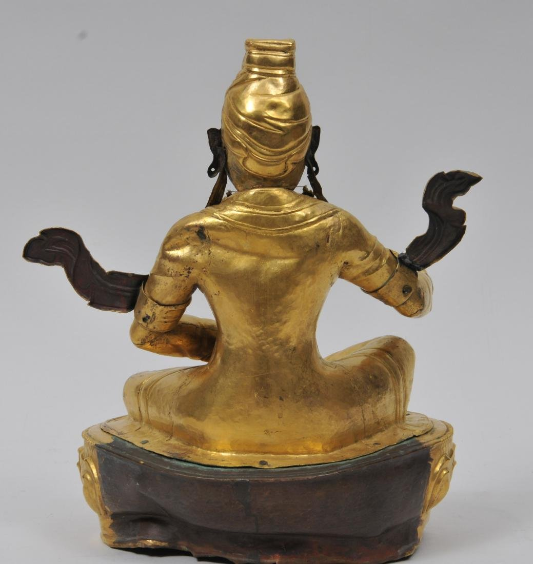 Repousse gilt copper image. Tibet. 19th century. Seated - 7