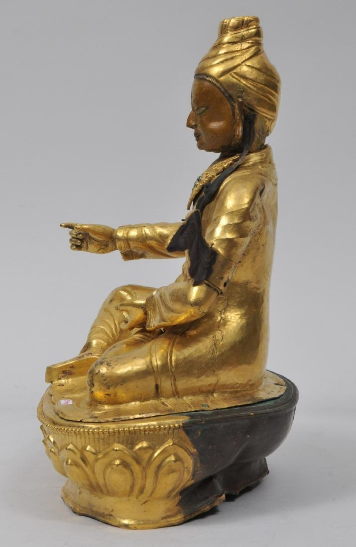 Repousse gilt copper image. Tibet. 19th century. Seated - 9