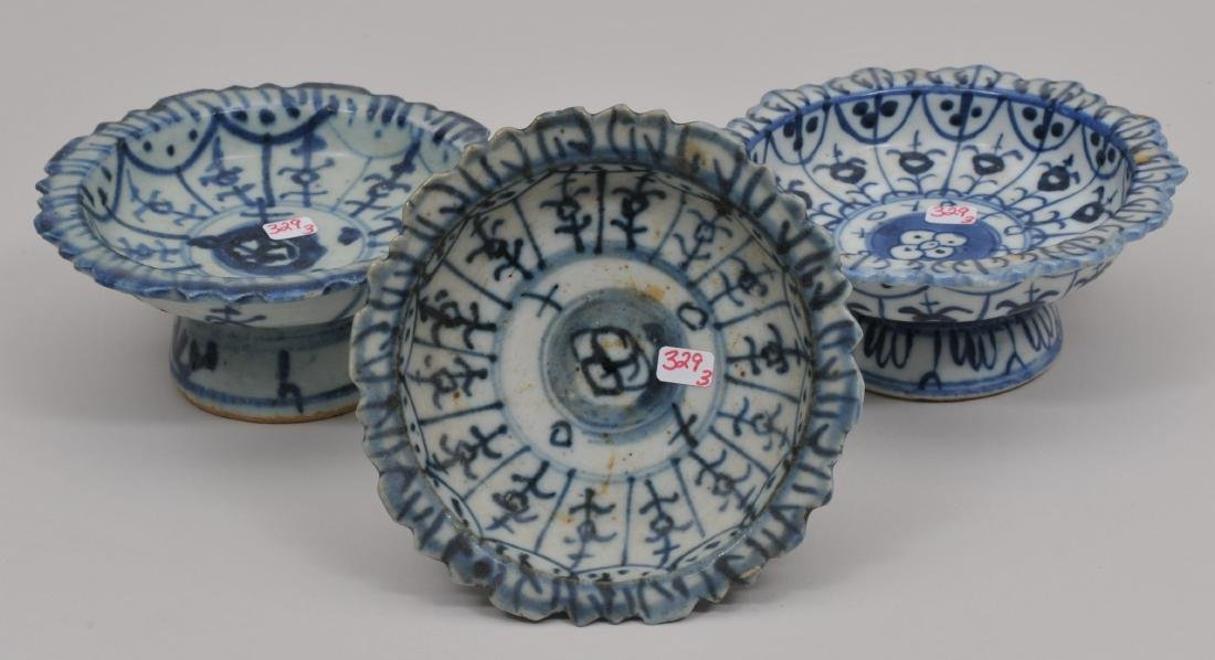 Three porcelain tazzas. Chinese Export ware for the