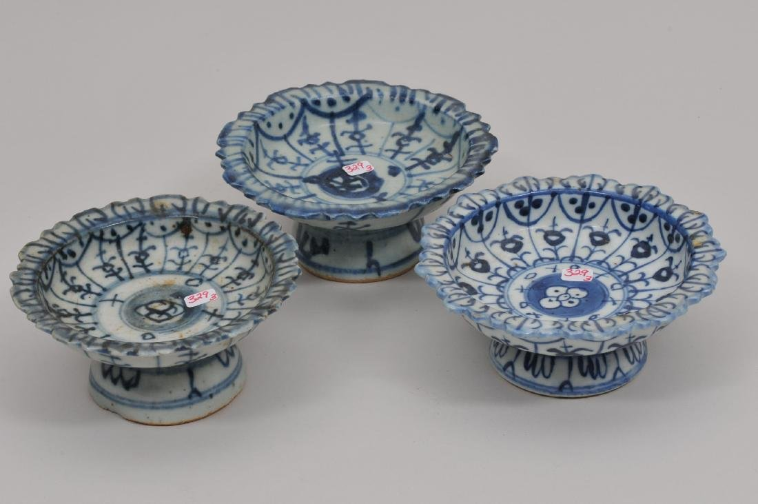 Three porcelain tazzas. Chinese Export ware for the - 2