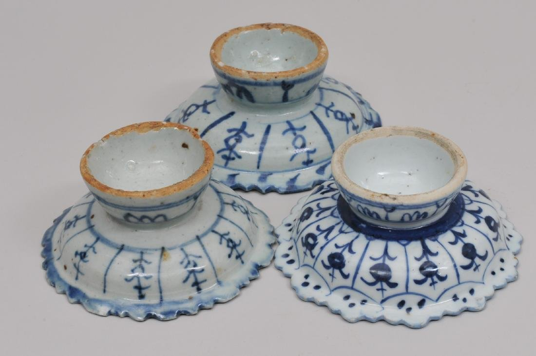 Three porcelain tazzas. Chinese Export ware for the - 6