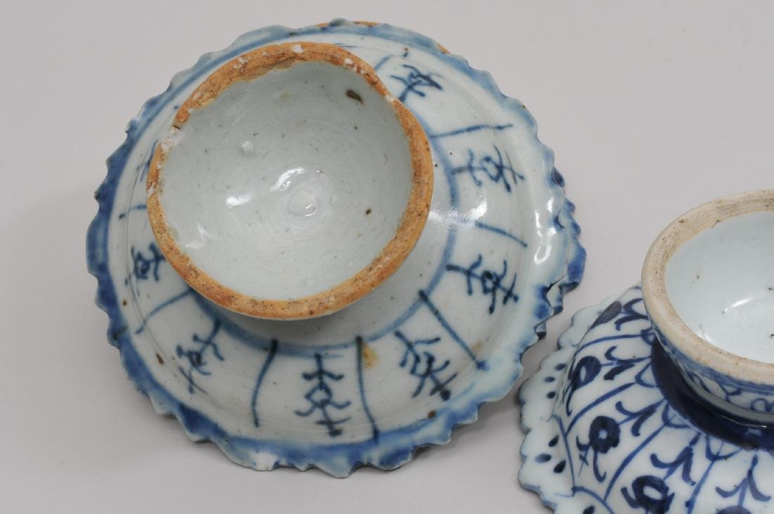 Three porcelain tazzas. Chinese Export ware for the - 7