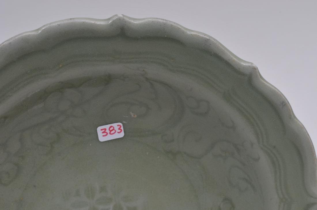 Celadon dish. China. Ming period. (1368-1644). Foliate - 3