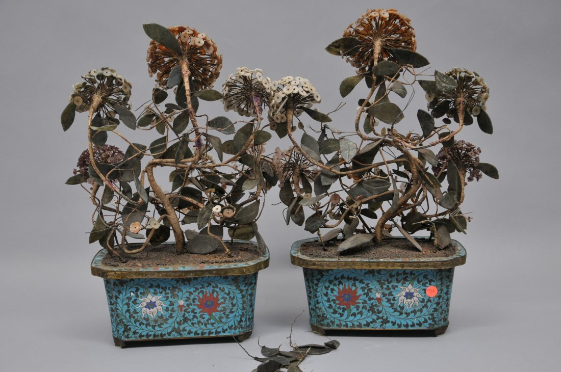 Pair of planters. China. 19th century. Cloisonne bases - 9