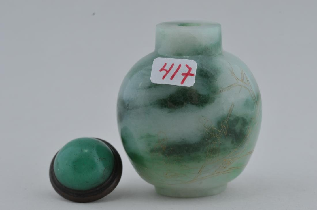 Jadeite Snuff bottle. China. Early 20th century. Areas - 4