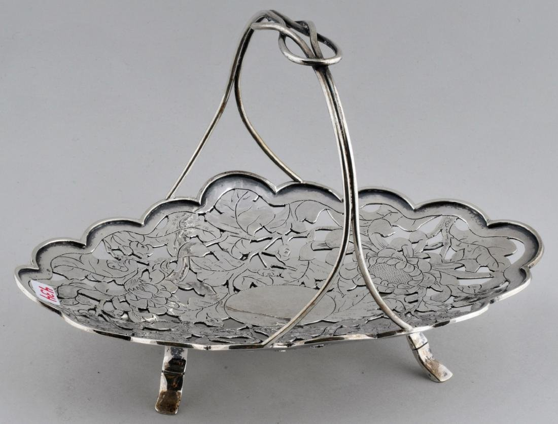 Chinese Export silver handled basket. Early 20th