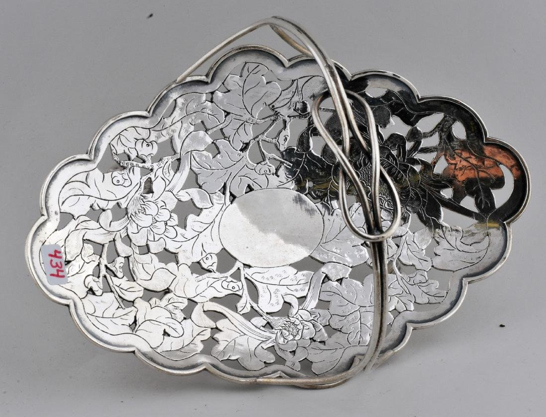 Chinese Export silver handled basket. Early 20th - 2