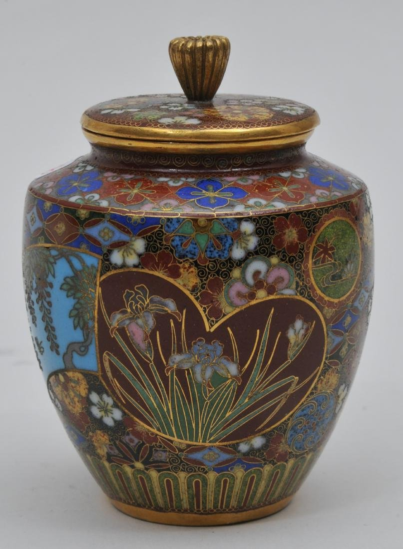 Cloisonné covered jar. Japan. Meiji period.
