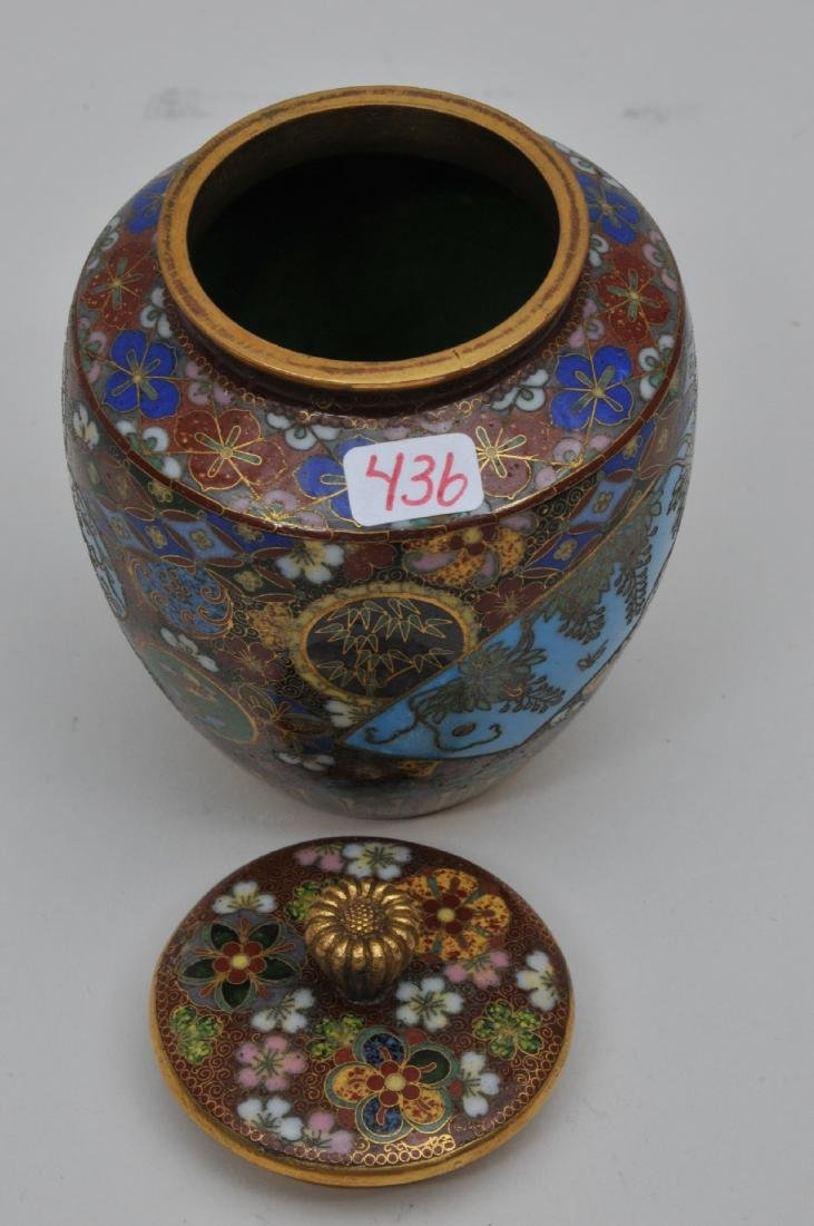 Cloisonné covered jar. Japan. Meiji period. - 4