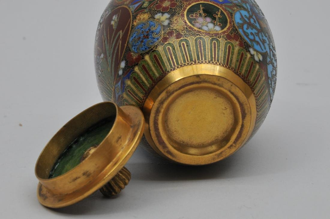 Cloisonné covered jar. Japan. Meiji period. - 5