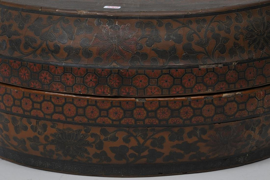 Lacquered box. China. 18th century. Round form. - 3