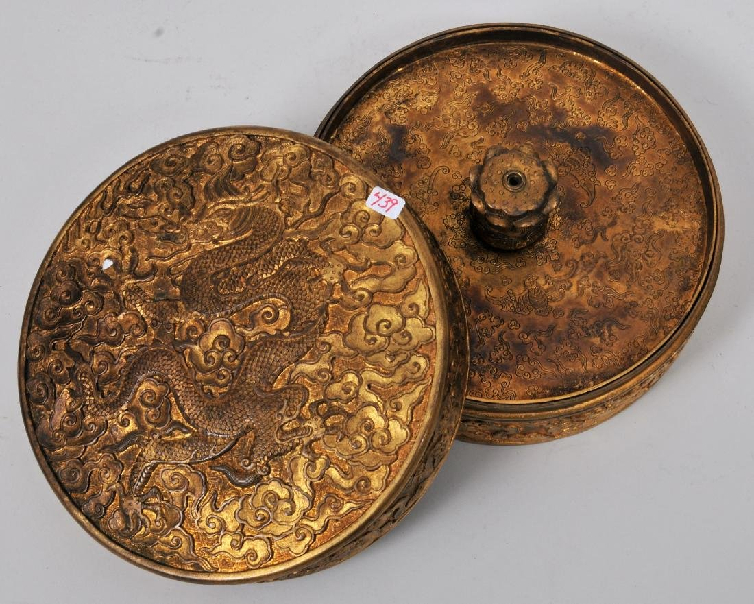 Gilt bronze covered box. Ch'ien Lung mark and probably