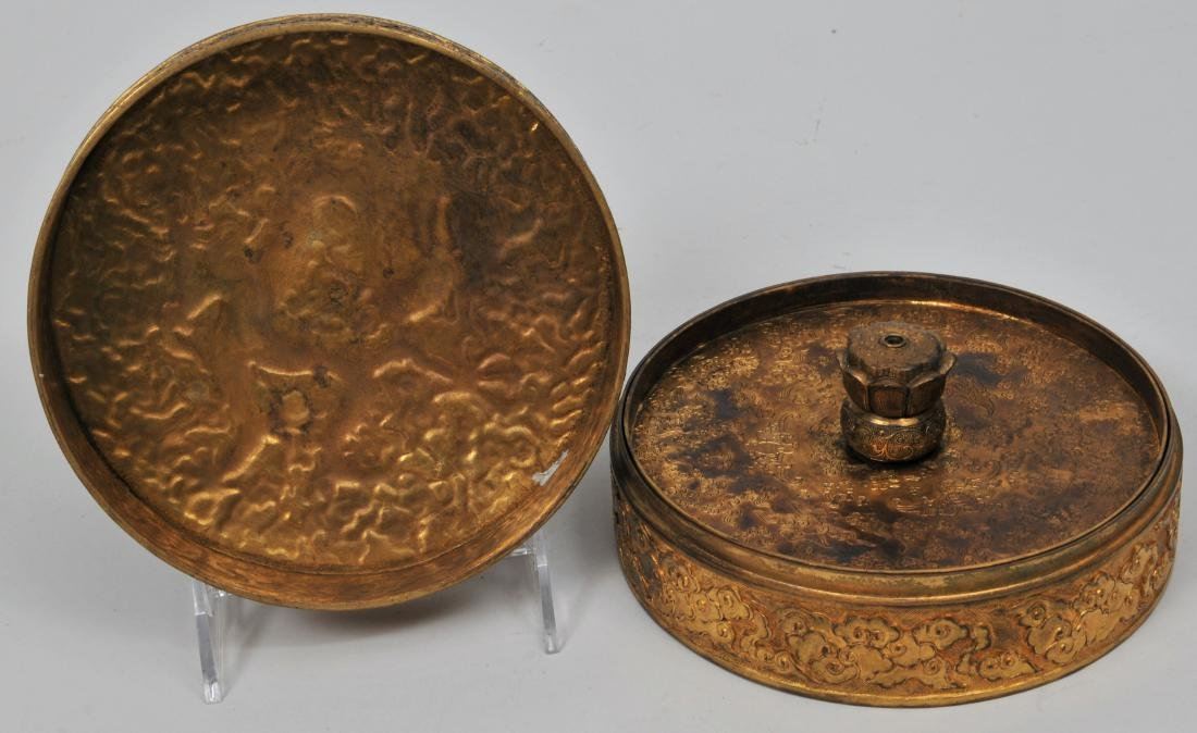 Gilt bronze covered box. Ch'ien Lung mark and probably - 4