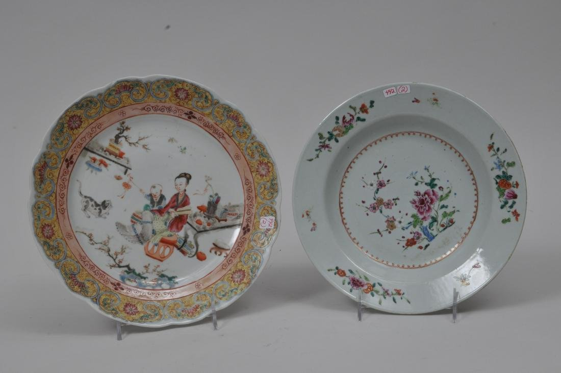 Two porcelain plates. Chinese Export ware. Decoration