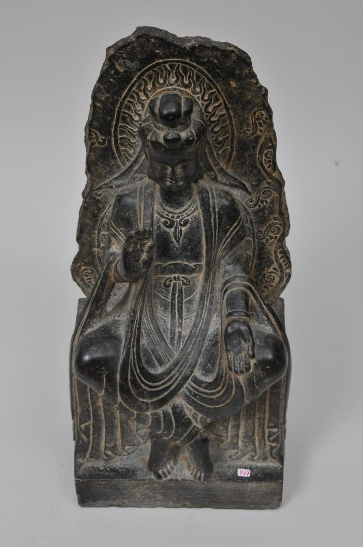 Carved stone Buddha. China. 19th century or earlier. - 3