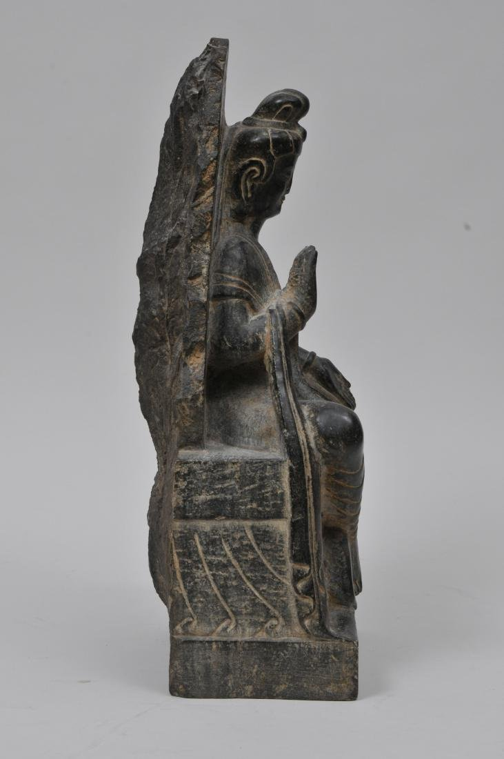 Carved stone Buddha. China. 19th century or earlier. - 4