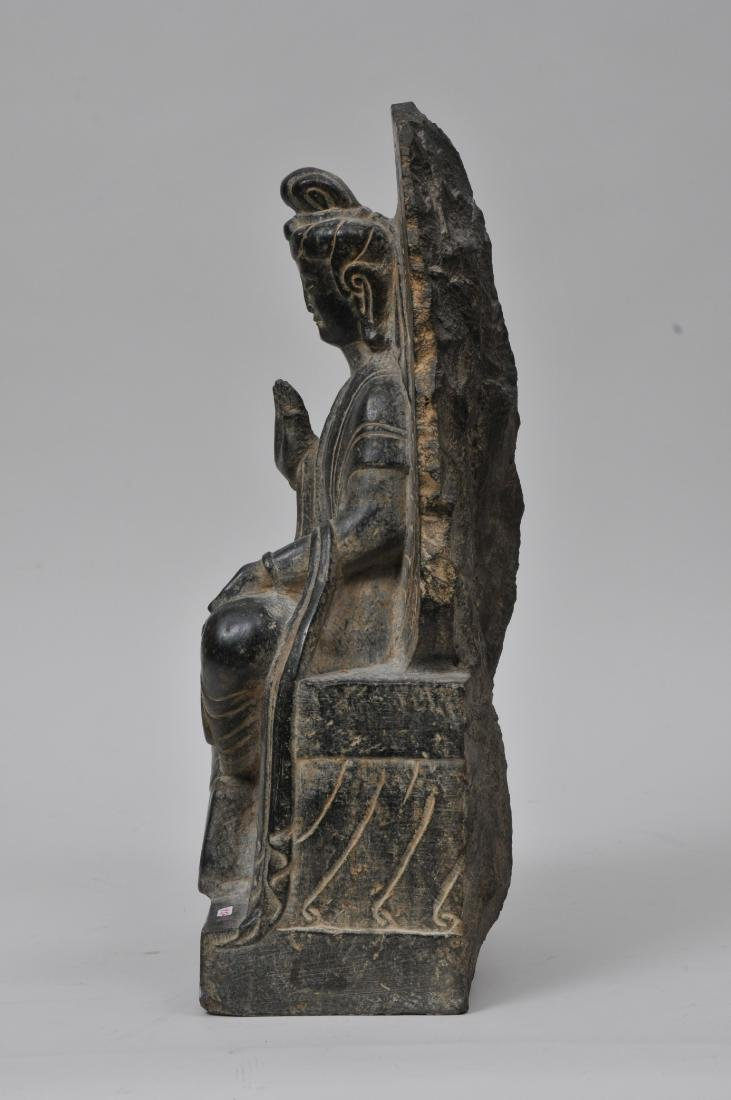 Carved stone Buddha. China. 19th century or earlier. - 7