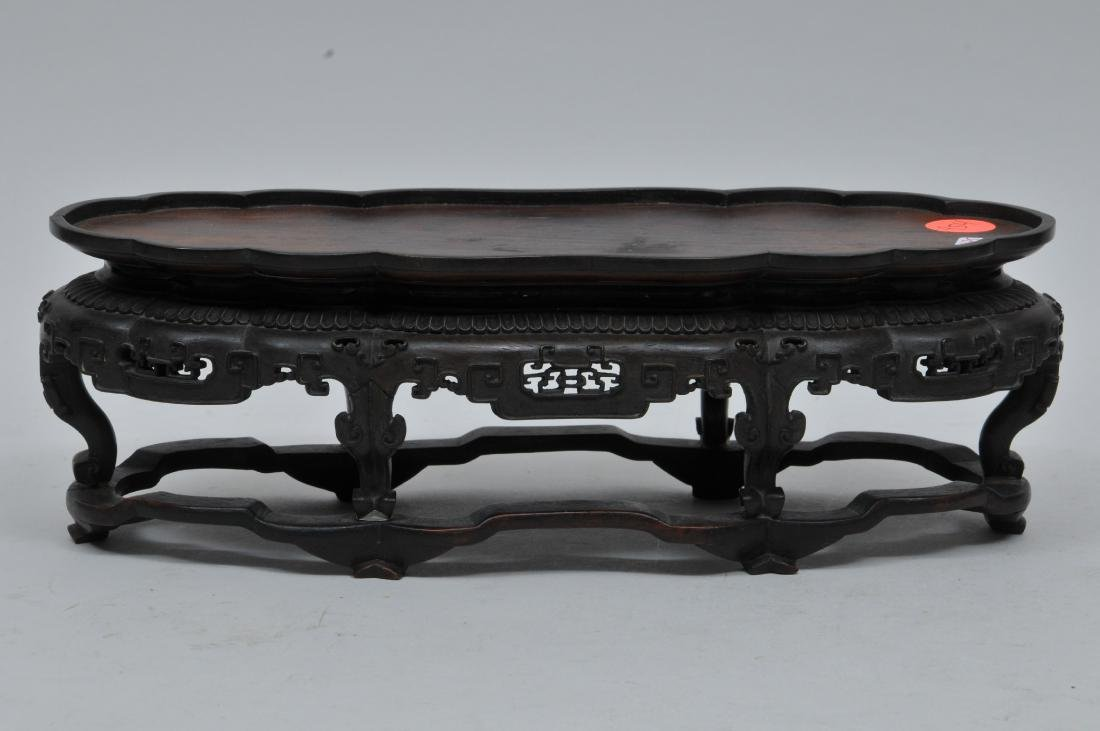 Hardwood stand. China. 18th century. Oval form with - 3