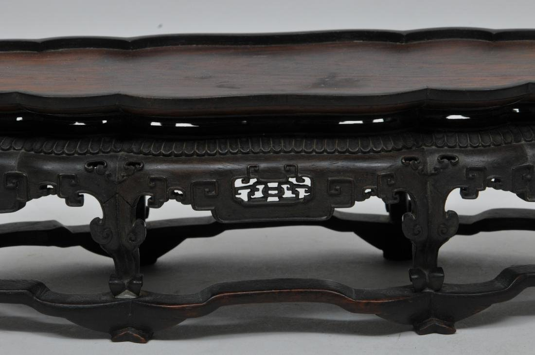 Hardwood stand. China. 18th century. Oval form with - 4