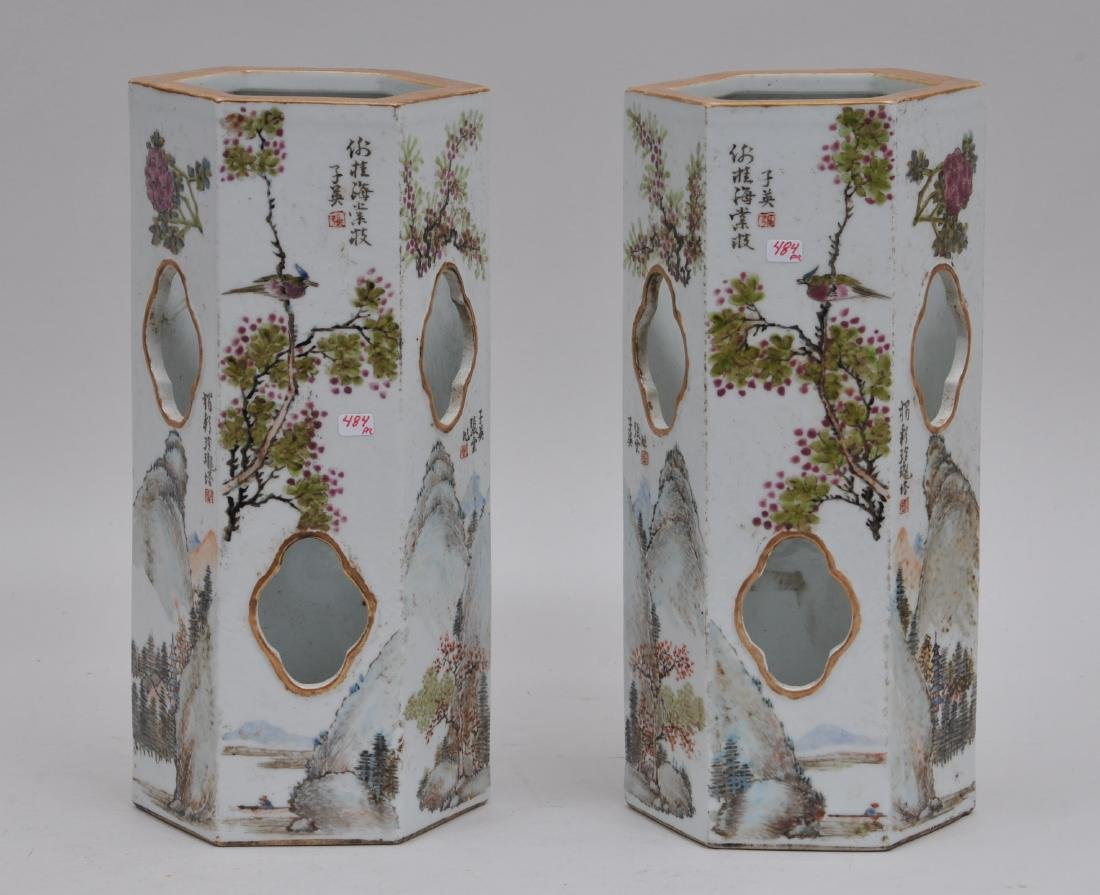 Pair of porcelain hat stands. China. Early 20th