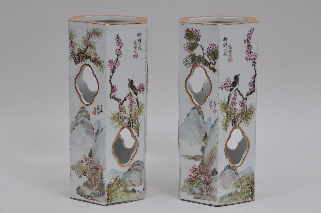 Pair of porcelain hat stands. China. Early 20th - 4