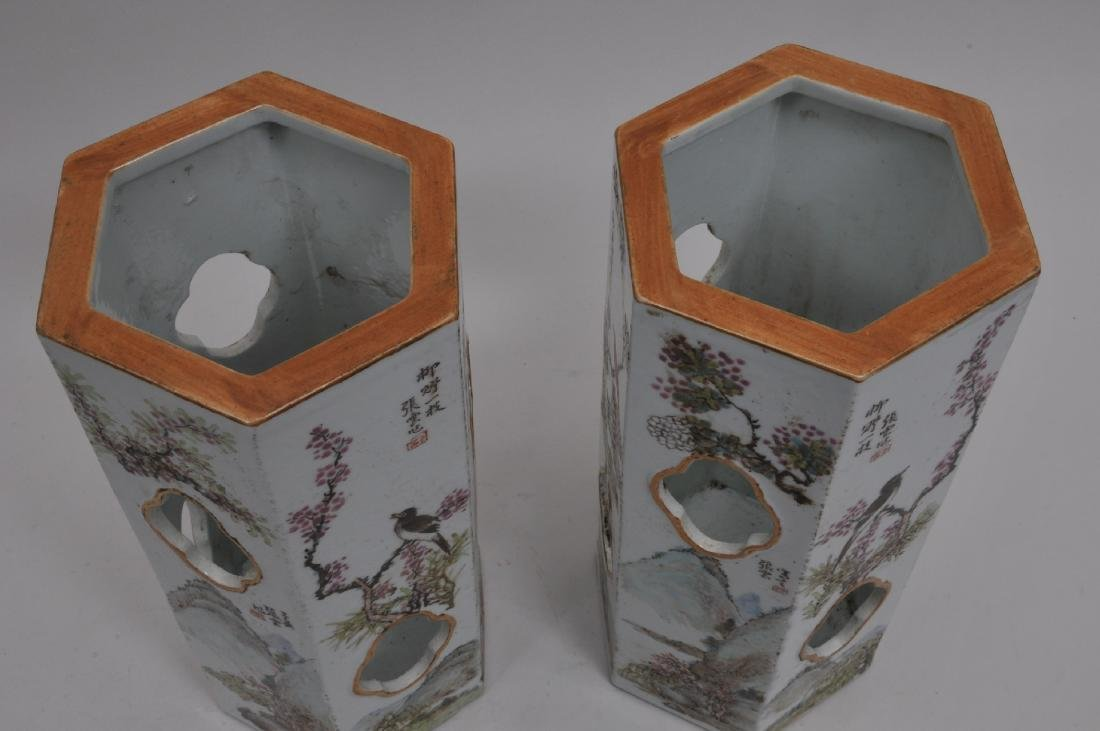 Pair of porcelain hat stands. China. Early 20th - 6